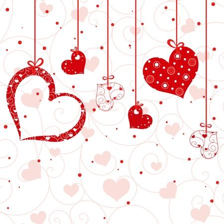 st valentine: San Valent�n de tarjetas de felicitaci�n en forma de coraz�n rojo en el fondo de pantalla sin patr�n