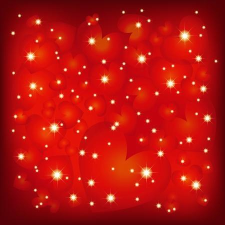st valentine: Resumen de San Valent�n de fondo en forma de coraz�n de color rojo brillante Vectores