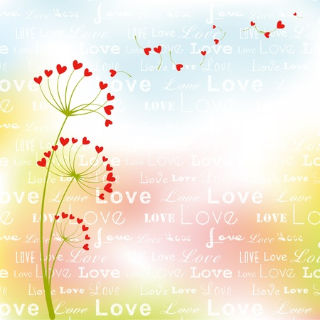 Abstract springtime love flower on colorful background