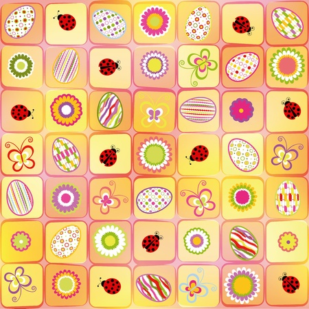 Abstract Easter holiday colorful seamless pattern background Vector