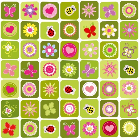 Abstract springtime colorful seamless pattern background Vector