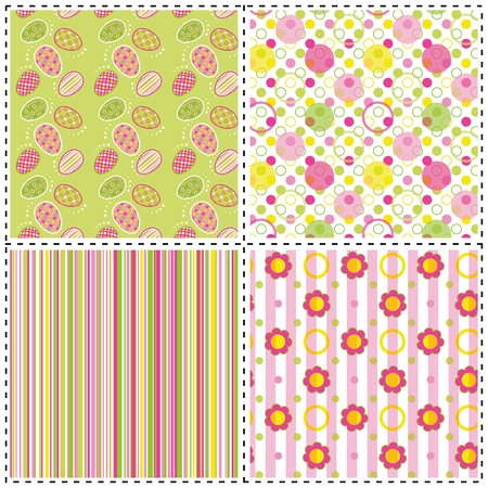 set of patterns with flower, stripe and shape Vector