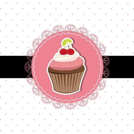 Cherry cupcake invitation card on seamless pattern background Illustration