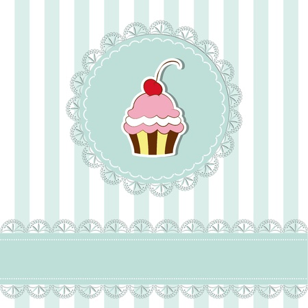 cake background: Cherry cupcake invitation card on seamless pattern background Illustration
