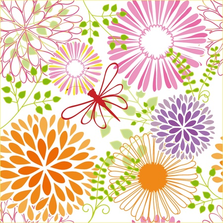 Abstract springtime colorful flower seamless pattern background Vector