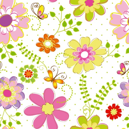 springtime: Abstract springtime colorful flower seamless pattern background Illustration