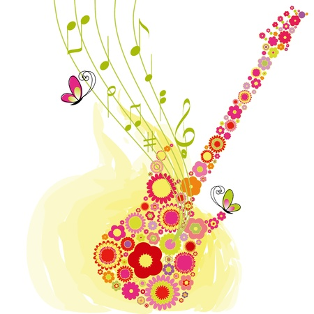 summer festival: Abstract Springtime flower guitar music festival background