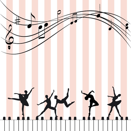 Abstract music festival wallpaper ballet dancer and piano Çizim