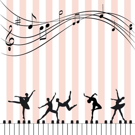sagoma ballerina: Estratto festival di musica wallpaper ballerino balletto e pianoforte Vettoriali