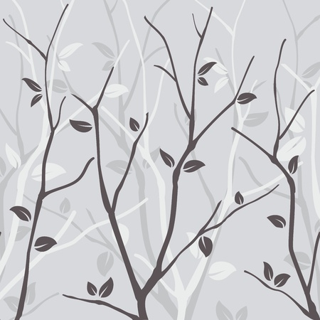 seasonal forest: Abstract seamless pattern with leaves on grey background