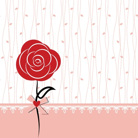 Card design with red rose on white pink seamless background
