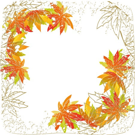 Colorful autumn leaves on white grunge background Stock Vector - 14091426