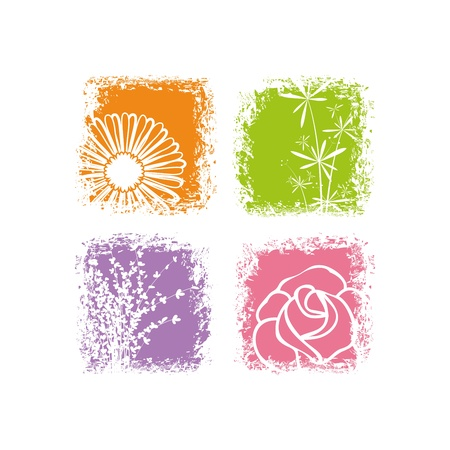 Abstractcard design colorful flower on white background Illustration