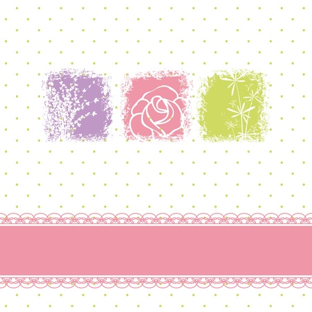 Greeting card with rose flowers on polka dot background