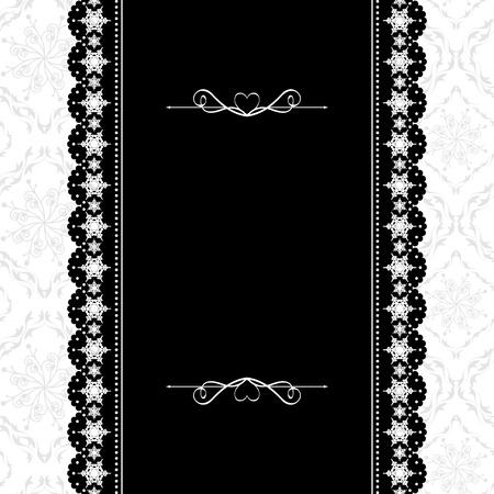 victorian christmas: Card design vintage ornate frame on seamless pattern background