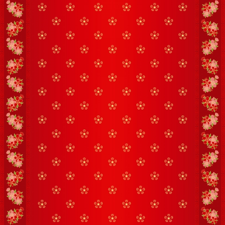 chinese flower: Oriental Chinese New Year cherry blossom seamless pattern and ornate frame