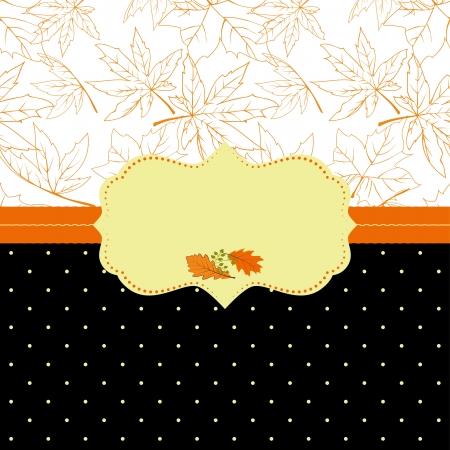 oak leaf: Autumn ornate frame greeting card with seamless pattern background
