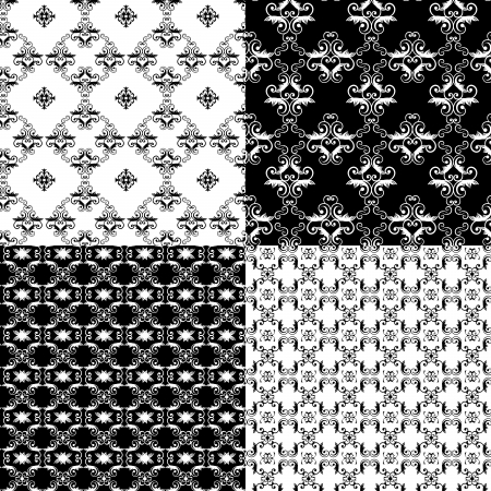 Set of Damask seamless floral pattern background Vector