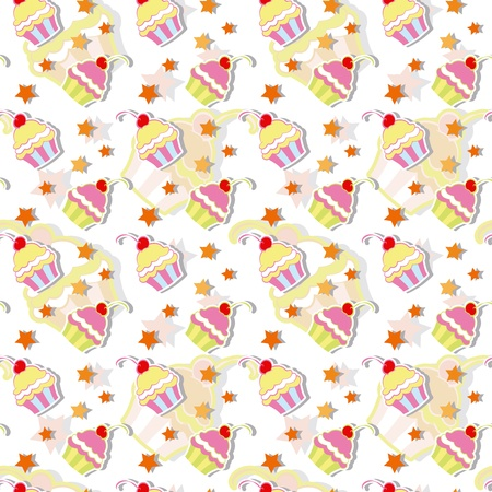 Colorful Cherry Cupcakes Seamless Pattern Background Vector