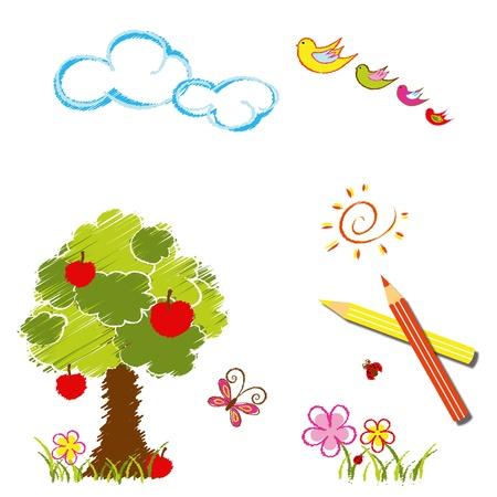 dessin fleur: Colorful couleur de fond Dessin au crayon