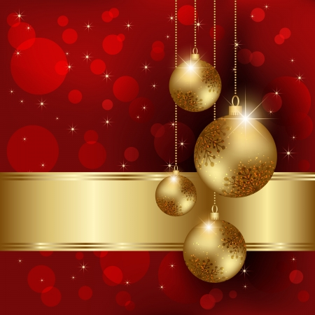 greeting card backgrounds: Sparkling Christmas Crystal Ball on Red Background
