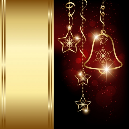 Sparkling Red Gold Christmas Bell Snowflakes Greeting Card Vector