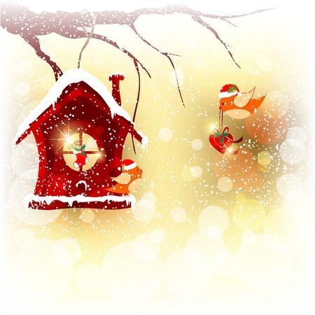 robin bird: Sparkling Christmas Card Robin Bird Send Greeting Illustration