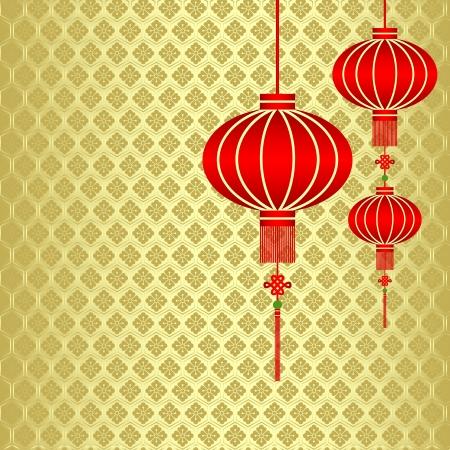 flores chinas: Linterna china roja sobre fondo Seamless Pattern