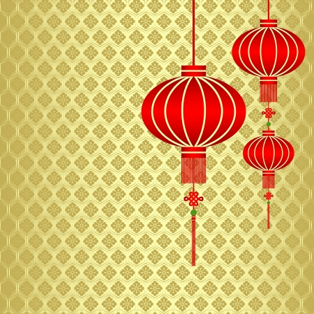 Red Chinese Lantern on Seamless Pattern Background