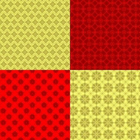 Set of Oriental Chinese New Year Seamless Pattern Background Vector