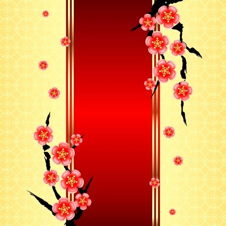 ciliegio in fiore: Chinese New Year Card di auguri con fiori di ciliegio