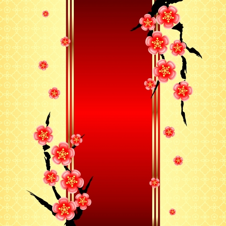 chinese flower: Chinese New Year Greeting Card with Cherry Blossom