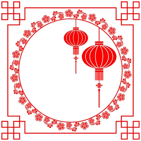 kersenbloesem: Chinese Paper Cutting Motif Chinese Lantaarn en Cherry Blossom Stock Illustratie