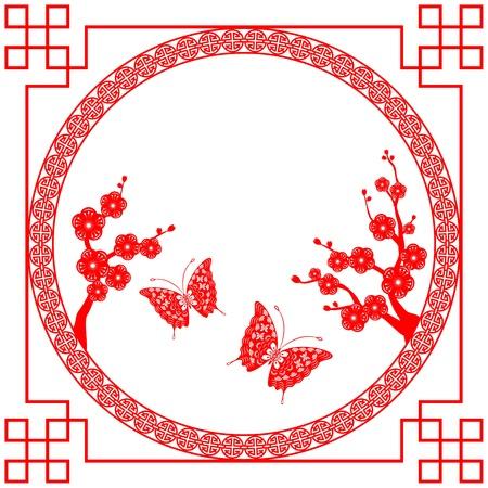 ciliegio in fiore: Fiore di ciliegio in stile orientale con farfalla Vettoriali