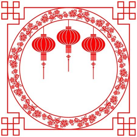 flores chinas: Corte del papel chino linterna y la flor de cerezo