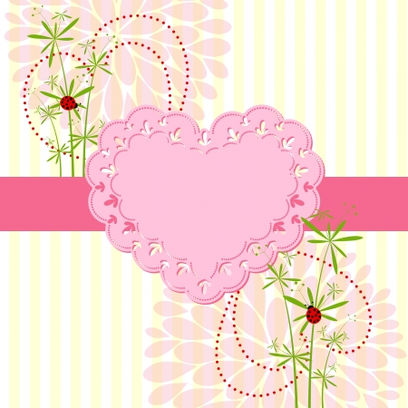 Springtime Love Card with Flower Background Stock Vector - 17271948