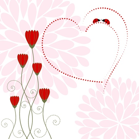 Springtime Love Card with Flower and Ladybug Stock Vector - 17271947