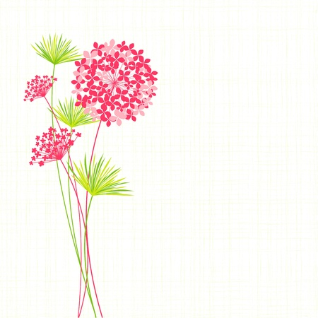 Springtime Hydrangea Flower on Green Background Vector