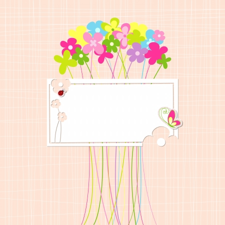 Springtime Colorful Flower and Butterfly Greeting Card Illustration