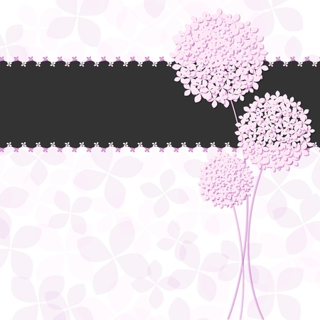 Springtime Pink Purple Hydrangea Flower Greeting Card Illustration