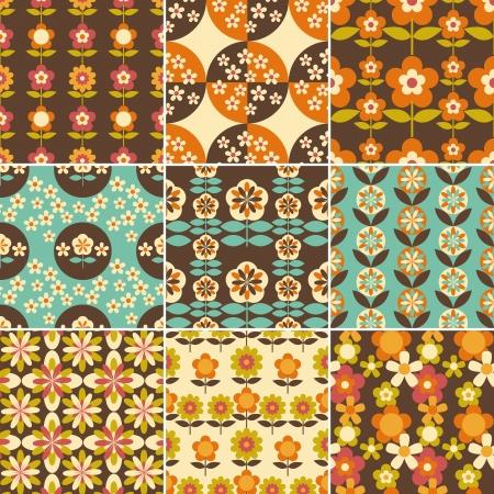 Set Of 70s Seamless Patterns Design Wallpaper Stock Vector
