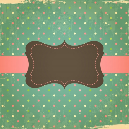 Retro Grunge Polka Dot Background with Label Vector