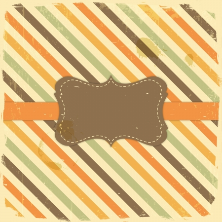 Card Design Vintage Label on Grunge Stripe Background Stock Vector - 19907222