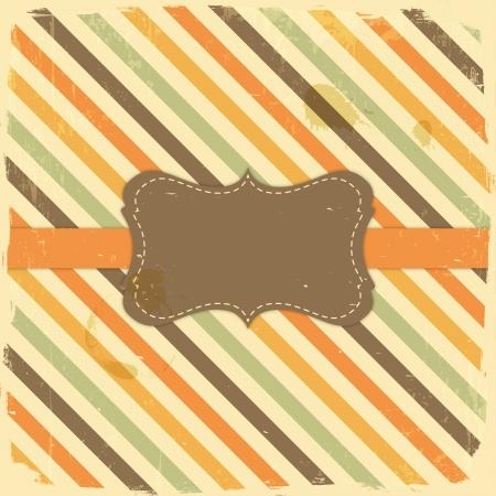 Card Design Vintage Label on Grunge Stripe Background Stock Vector - 19907222