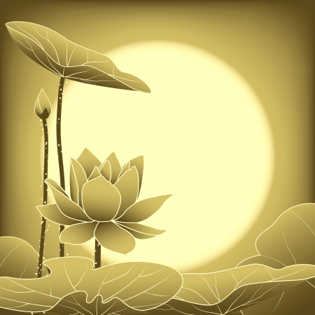 Oriental Mid Autumn Festival Lotus Flower Wallpaper Vector