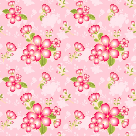 oriental flower: Oriental Flower Seamless Pattern Background Wallpaper