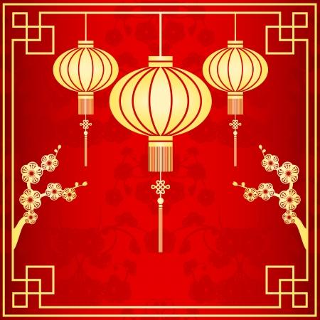 Oriental Chinese Lantern achtergrond van de kersenbloesem