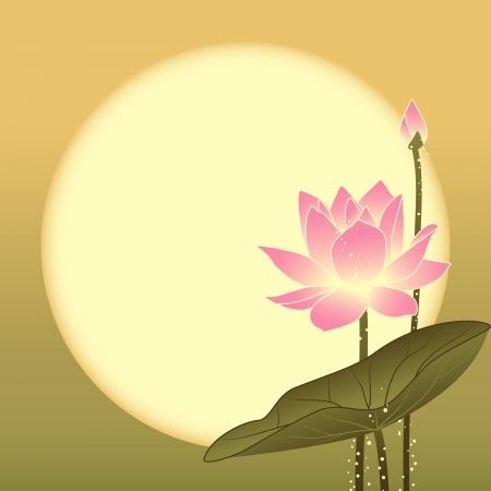 Mid Autumn Festival Lotus Flower on Full Moon Background Vector