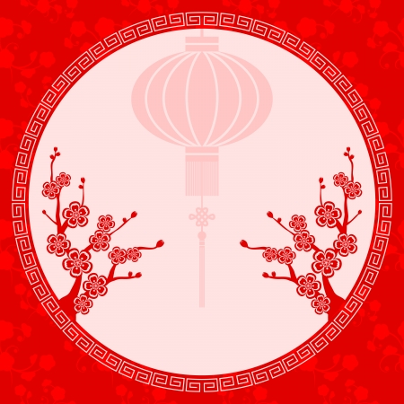 Oosterse Chinese Lantaarn kersenbloesem achtergrond Stock Illustratie