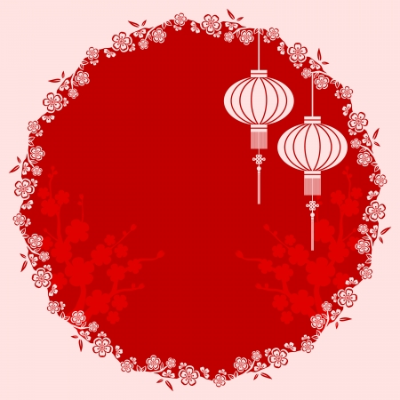 Oriental Chinese Lantern cherry blossom background